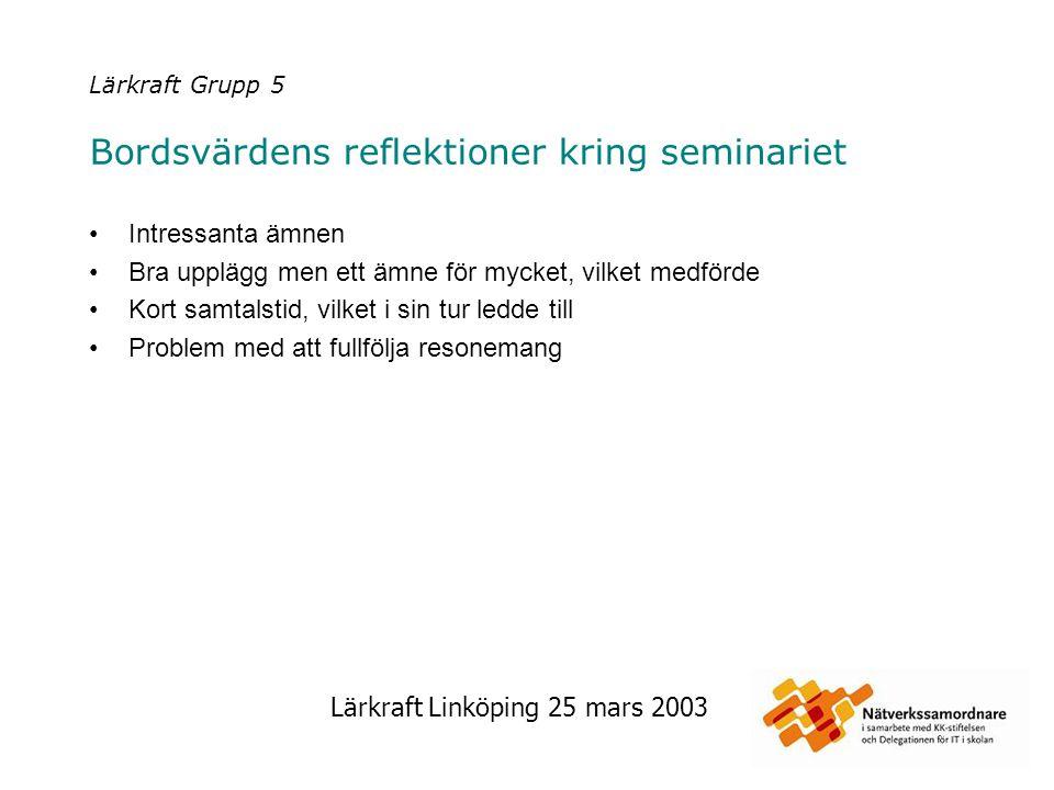 Lärkraft Linköping 25 mars 2003 Lärkraft Grupp 6 Bordsvärdens reflektioner kring seminariet En mycket intressant dag med bra innehåll.