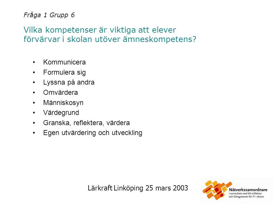 Lärkraft Linköping 25 mars 2003 Fråga 2 Grupp 1 Vad kan IT som verktyg tillföra lärandet.