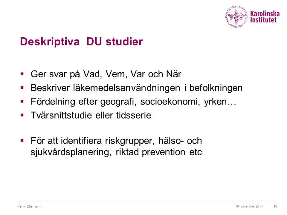 18 november 2014Namn Efternamn11 Deskriptiva studier