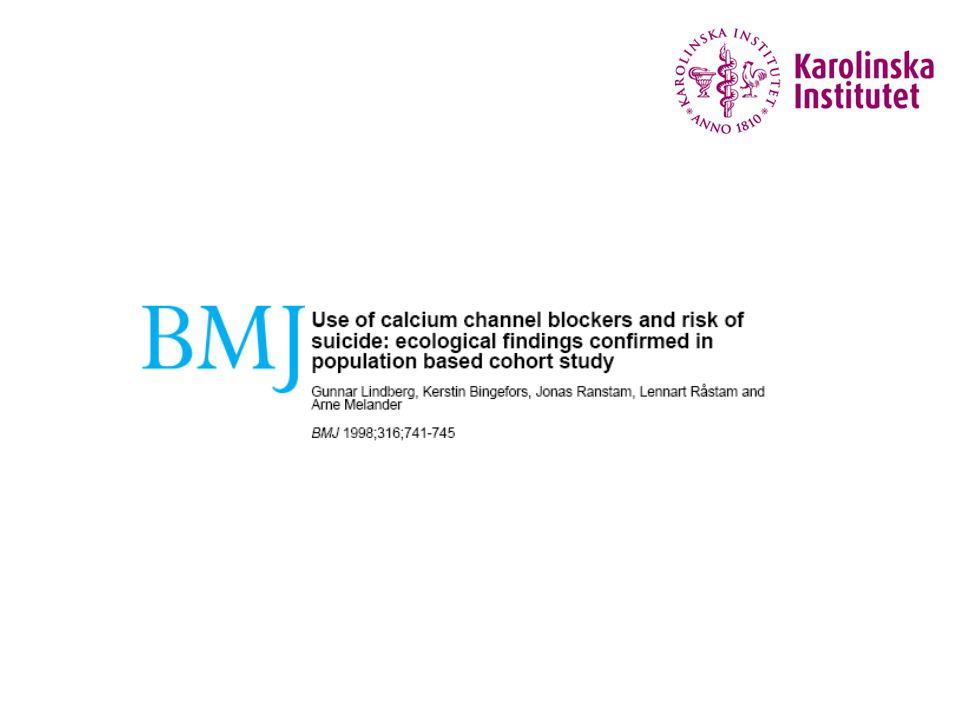Lindberg et al. BMJ 1998 Ekologiskt samband – kalciumantagonister & cancer?