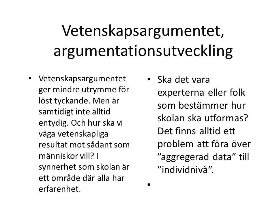 Vetenskaps-argumentet, argumentutveckling Alternativa vetenskapliga tolkningar och resultat bör lyftas fram.