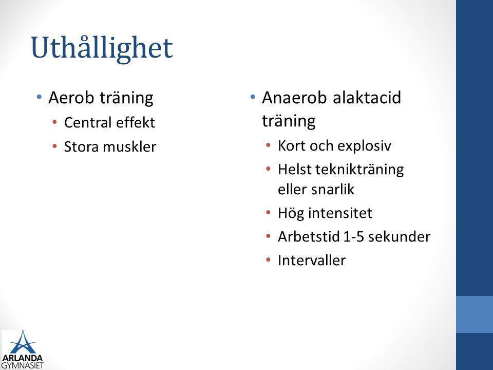Uthållighet Anaerob laktacid träning Arbetstid upp till 30 sek Högintensivt Intervaller Färskvara Syreupptagning och uthållighet Syreupptagning <10min, central effekt Uthållighet >10min, specifikt