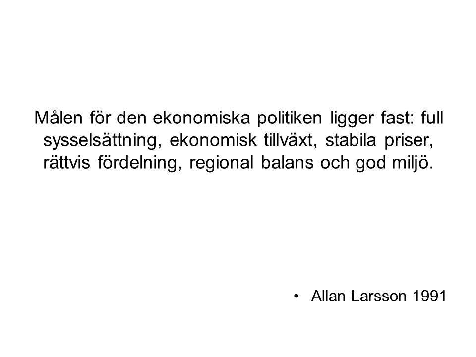 Huvudmålet för regeringens ekonomiska politik är att bryta den ekonomiska staganationen, pressa ner arbetslösheten och återupprätta Sverige som en tillväxt- och företagarnation med en stark och växande ekonomi.