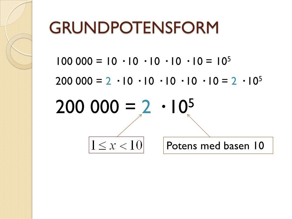 GRUNDPOTENSFORM 300 = 3 · 10 2 140 = 1,4 · 10 2 3200 = 3,2 · 10 3 123 = 1,23 · 10 2 3002 = 3,002 · 10 3 54 = 5,4 · 10 1 0,2 = 2 · 10 -1 0,02 = 2 · 10 -2