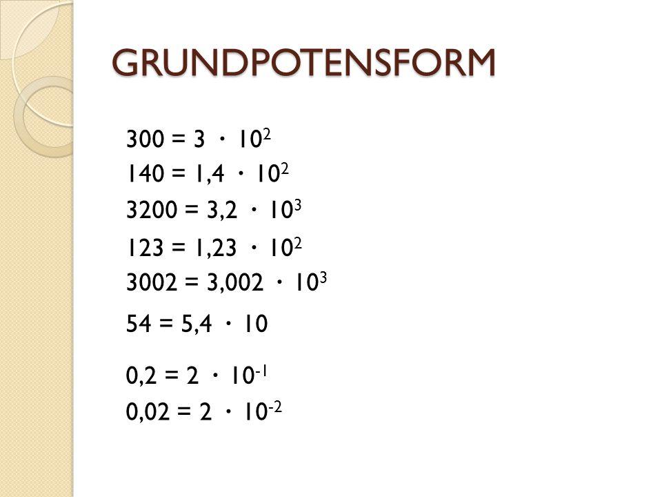 GRUNDPOTENSFORM 30 = 3 · 10 1 300 = 3 · 10 2 3000 = 3 · 10 3 30000 = 3 · 10 4 0,03 = 3 · 10 -2 0,3 = 3 · 10 -1 3 = 3 · 10 0