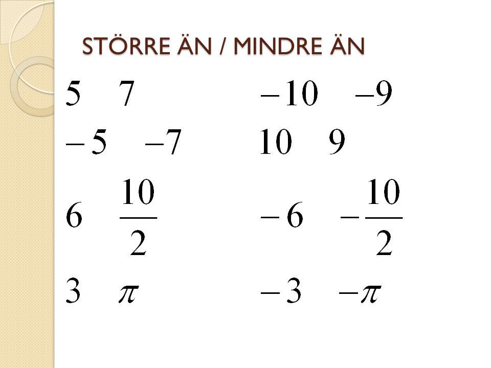 Vilken temperatur får man om… a) den först är +7° och sedan sjunker 5° b) den först är +5° och sedan sjunker 5° c) den först är +1° och sedan sjunker 5° a) +2° b) ±0° c) -4°