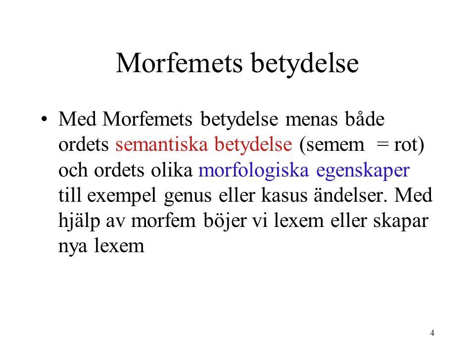 5 Morfemets betydelse Morfem kan delas i 2 grupper 1.