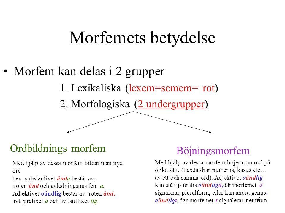 6 Morfem Ordbildning Ord kan bestå av flera morfem 1.Rot är ordetskärna, bär dess grundbetydelse (semem/e).