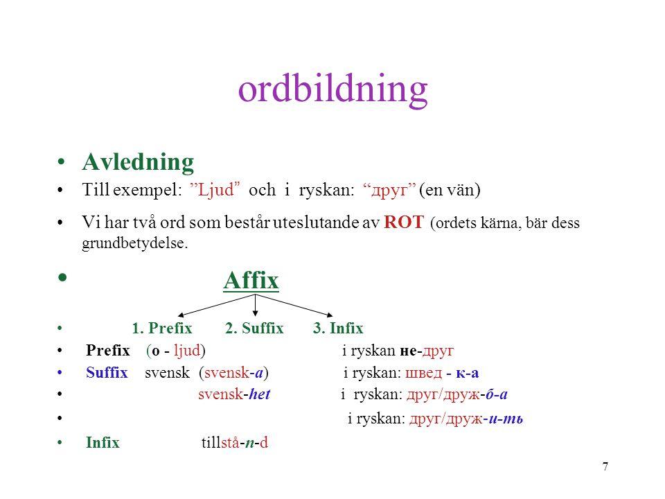 8 ordbildning Sammansättning I svenska: Järn-väg- s-arbet/are. I ryska: пут-е-вод/ит/ель