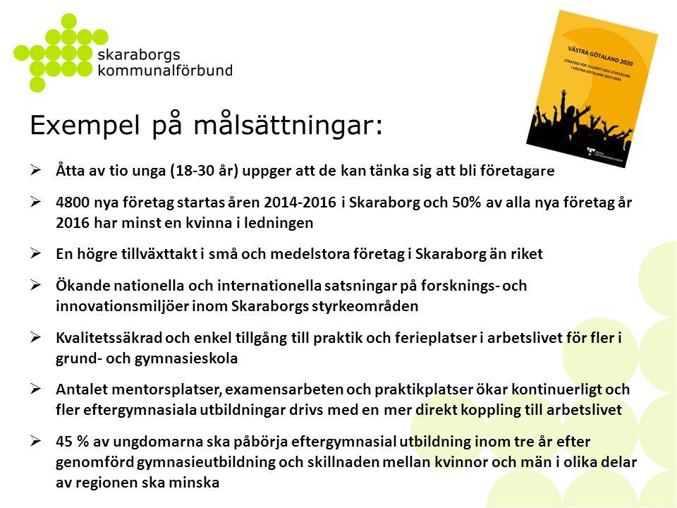 Exempel på målsättningar (forts):  Avhoppen från skolan ska minska till under 9 %  Kvalitetssäkrad validering och en självständig och samordnad studie- och yrkesvägledning  Beslut om en utbyggd infrastruktur som möjliggör en fortsatt vidgning av de lokala arbetsmarknaderna i Skaraborg och …  90% av persontransportarbetet med buss ska utföras med fossilfri energi och kollektivtrafiken ska använda 5 % mindre energi per personkilometer  En gemensam strukturbild för Skaraborgs långsiktiga utveckling baserad på hållbar utveckling  Förbättrade villkor för lokal produktion av livsmedel och bioenergi  En växande andel unga upplever Skaraborg som en attraktiv plats  Besöksnäringen omsätter mer än 4 miljarder kronor vilket motsvarar en tillväxt närmare 15 %