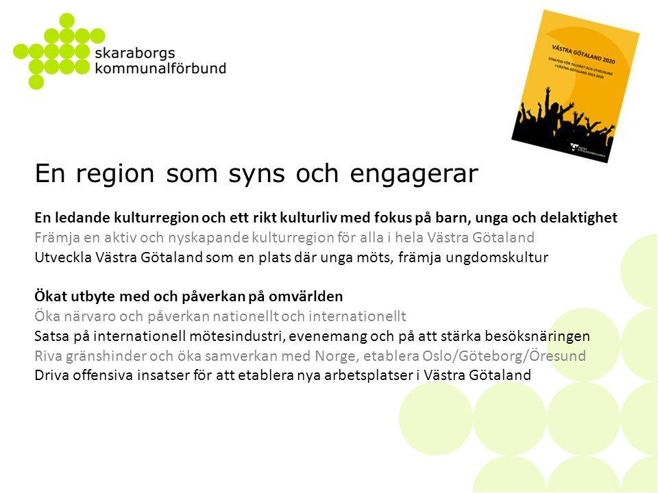 Exempel på målsättningar:  Åtta av tio unga (18-30 år) uppger att de kan tänka sig att bli företagare  4800 nya företag startas åren 2014-2016 i Skaraborg och 50% av alla nya företag år 2016 har minst en kvinna i ledningen  En högre tillväxttakt i små och medelstora företag i Skaraborg än riket  Ökande nationella och internationella satsningar på forsknings- och innovationsmiljöer inom Skaraborgs styrkeområden  Kvalitetssäkrad och enkel tillgång till praktik och ferieplatser i arbetslivet för fler i grund- och gymnasieskola  Antalet mentorsplatser, examensarbeten och praktikplatser ökar kontinuerligt och fler eftergymnasiala utbildningar drivs med en mer direkt koppling till arbetslivet  45 % av ungdomarna ska påbörja eftergymnasial utbildning inom tre år efter genomförd gymnasieutbildning och skillnaden mellan kvinnor och män i olika delar av regionen ska minska