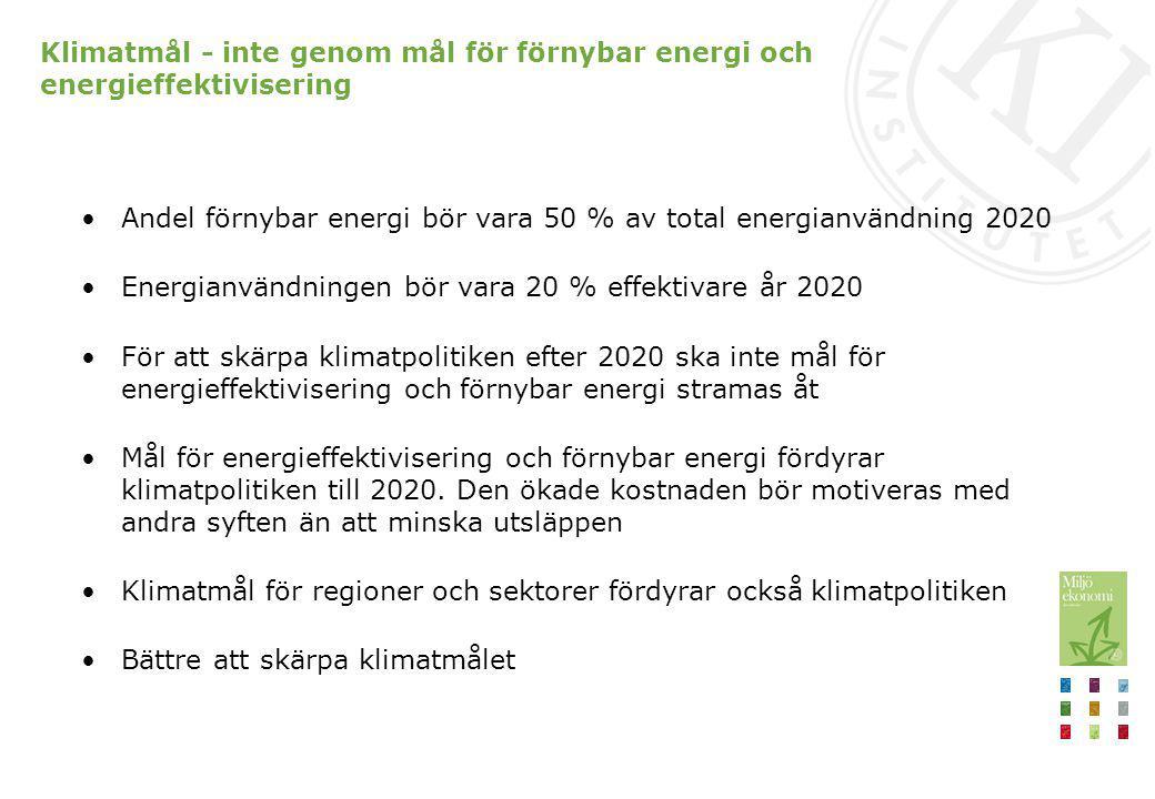 Mål för energieffektivisering och förnybar energi Elcertifikat styr kostnadseffektivt mot förnybarhetsmålet Energiskatten styr inte kostnadseffektivt mot energieffektiviseringsmålet, skatten per energiinnehåll behöver utjämnas mellan bränslen Energieffektiviseringsmålet ser inte ut att nås (-15 % 2020) Biobränslen bör omfattas av energiskatt för att styrningen mot energieffektiviseringsmålet ska vara kostnadseffektiv Risk för rekyleffekt då energieffektivisering kan leda till ny energiefterfrågan Storleken på rekyleffekten skiljer sig mellan energitjänster och mellan sektorer och beror på hur energieffektiviteten höjs Subventioner till energieffektivisering bör användas med försiktighet En energieffektivisering med 5 % i svensk varu- och tjänsteproduktion ger en rekyleffekt i intervallet 8-39%, men effekten är högre i vissa branscher