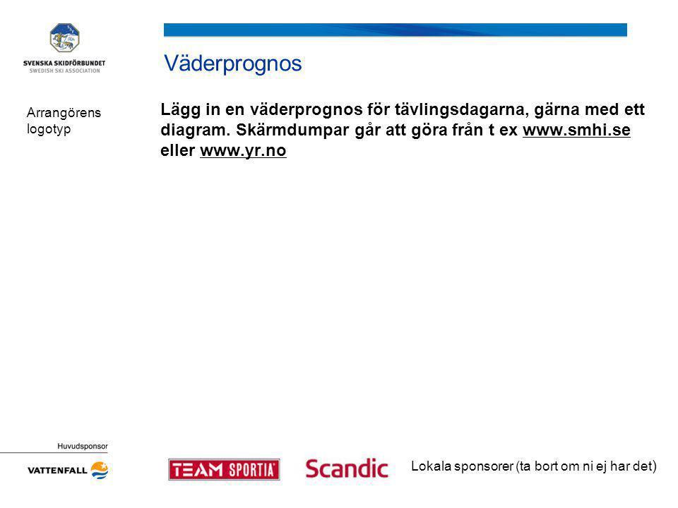 Presentation av tävlingsarenan Arrangörens logotyp EXAMPLE Lokala sponsorer (ta bort om ni ej har det )