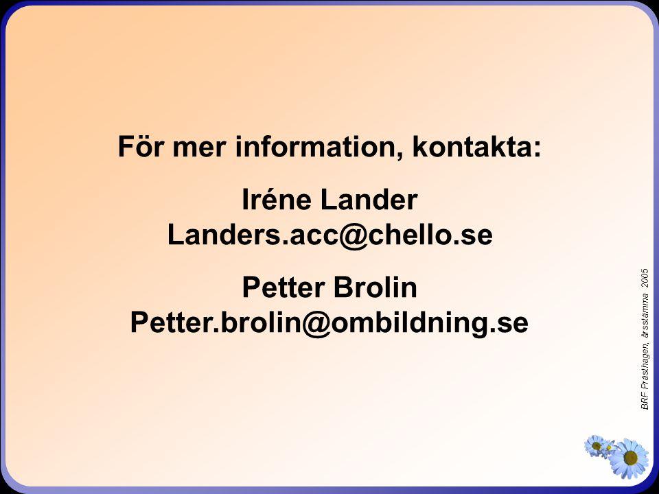 BRF Prästhagen, årsstämma 2005 AVGIFTER OCH ANDELSTAL 2005 RADHUS 65 m 2, 3v/3h5.188:- Andelstal0.591% 90 m 2, 4v/4h6.325:- Andelstal0.720% 108 m 2, 5v/5h7.320:- Andelstal0.833% FLERBOSTADSHUS 45 m 2, bh/bv3.683:- Andelstal0.419% 51 m 2, ah/av4.019:- Andelstal0.458% 64 m 2, ch/cv4.669:- Andelstal0.531% Årsavgifterna anges exklusive kabel-TV och motorvärmaravgifter FÖRÄNDRING 1996: 5% 1997: 4% 1998: 5% 1999: 0% 2000: 2% 2001: 2% 2002: 2% 2003: 2% 2004: 0% 2005: 0%