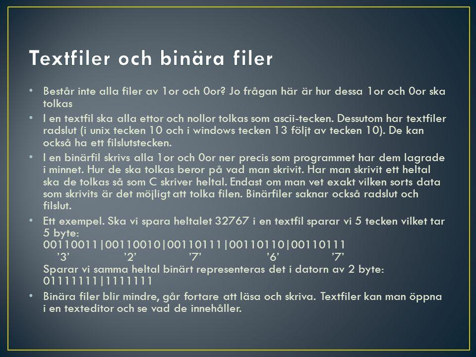 int main(){ FILE *fp; fp = fopen( minFil.txt , w ); fprintf(fp, %s\n , Tjena ); fprintf(fp, %s\n , leget ); fprintf(fp, %d\n ,234); fclose(fp); return 0; }