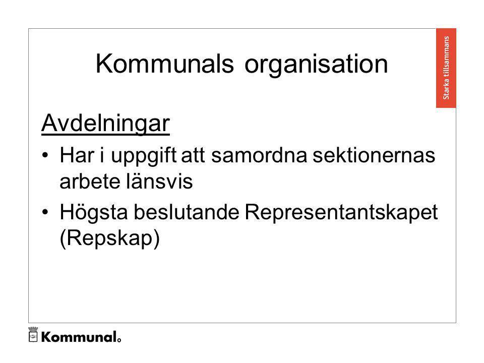 Kommunals organisation Förbundet Förbundsledningen är Kommunals verkställande ledning bestående av sex personer Förbundsstyrelsen 12 ledamöter sammanträder varannan vecka Högsta beslutande: Kongressen