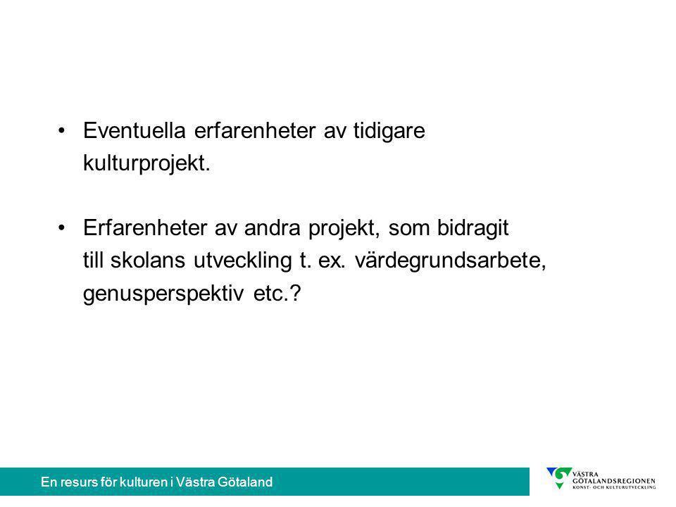 En resurs för kulturen i Västra Götaland Nödvändig information till skolan om konstnären Utbildning, yrkeserfarenhet och tidigare pedagogiska erfarenheter bland barn och unga.