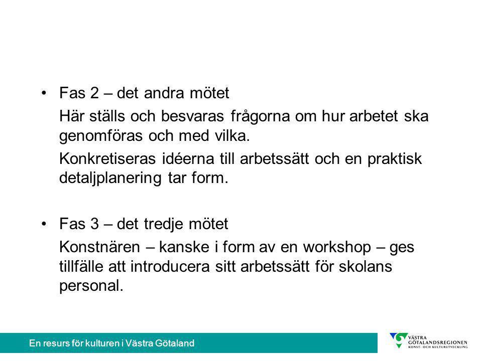 En resurs för kulturen i Västra Götaland Kulturprojektet genomförs Kulturprojektet avslutas Möjliga vinster
