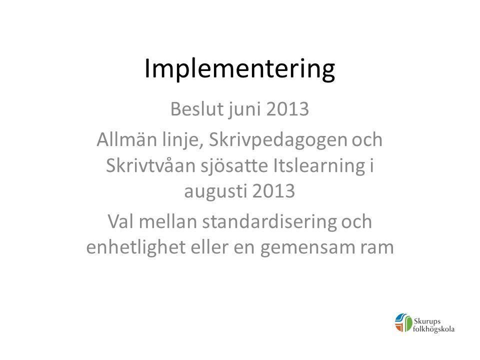 Implementering Vi (Allmän linje) tog beslut om att sätta en ram med tre funktioner: -All planering (i förväg eller i direkt anslutning till lektionen) - Alla uppgifter -All närvarohantering