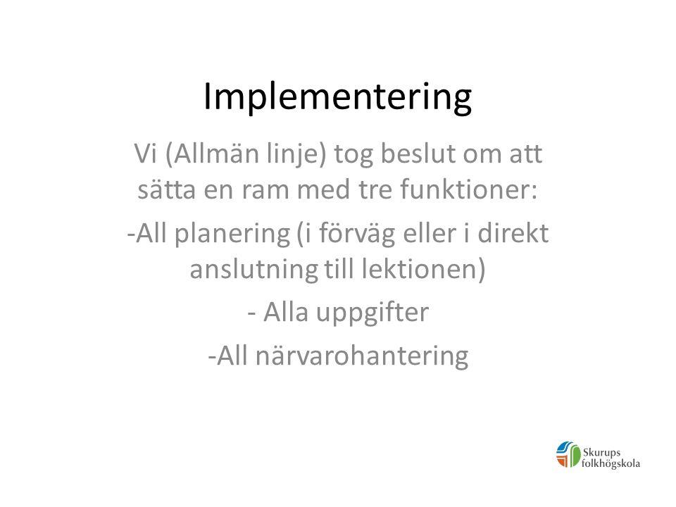 Idag - Allmän linje (alla ämnen och all personal) -Skrivpedagogen -Skrivarlinjen -Filmlinjen