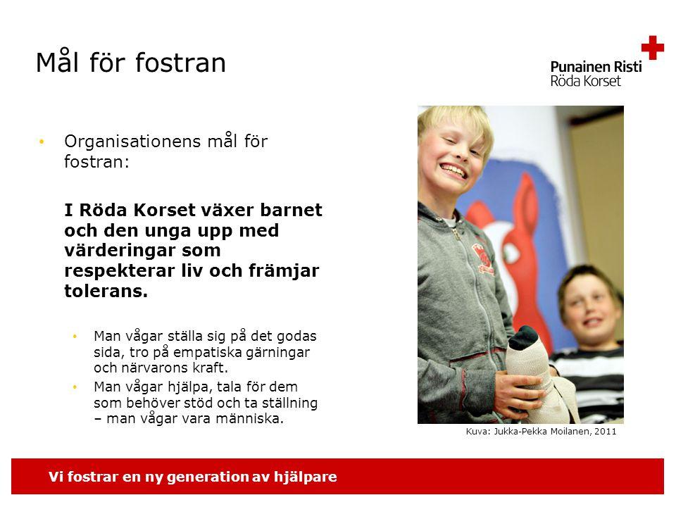 Vi fostrar en ny generation av hjälpare Allmänt Ungdomsverksamhet för unga under 29 år 7-12 år gamla barn deltar i klubb- och lägerverksamheten.