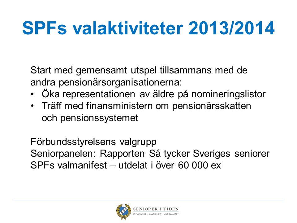 SPFs valaktiviteter 2013/2014 Valturné i februari Diskussion om det aktuella politiska läget Valverktygslådan Presentation av SPFs Pensionärsskattekalkylator