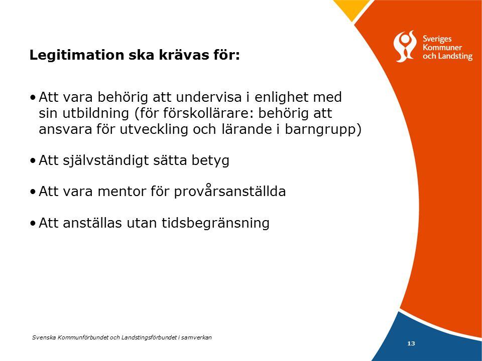 Svenska Kommunförbundet och Landstingsförbundet i samverkan 14 Skärpta behörighetsregler: Samma regler ska gälla för offentliga och fristående skolhuvudmän För behörighet att undervisa krävs legitimation mot aktuell skolform, årskurs och ämne Möjligheterna till undantag mer restriktiva (ska beslutas av styrelsen för skolan, högst ett läsår i taget, förutsätter brist på behöriga lärare eller synnerliga skäl)