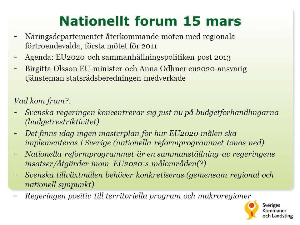 SKL: utmaningar – frågor att lösa Flernivåstyrningen – ökat regionalt och lokalt inflytande i utformningen: - Processer för EU2020-målen införande på nationell, regional och lokal nivå .