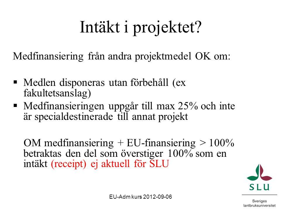 Indirekta kostnader (overhead)  Kostnader som inte direkt kan hänföras till ett projekt  Måste definieras enligt SLU:s gängse redovisningsprinciper Exempel ind.