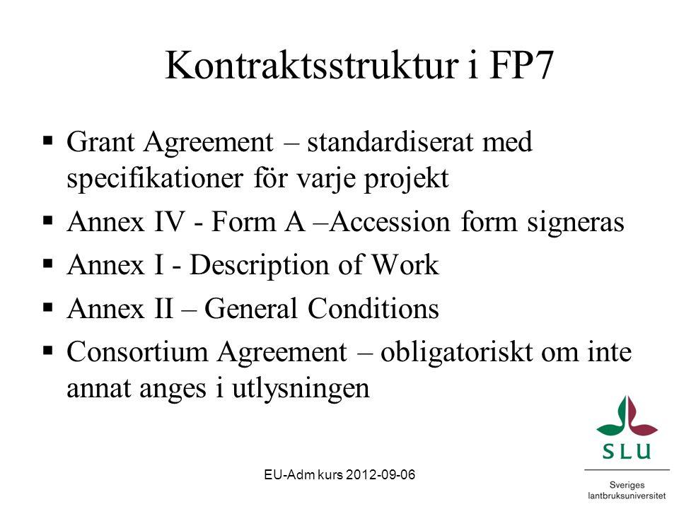 Rapportering Projektstart Projekttid Article 3 i Grant Agreement Rapporteringsperiod 12 eller 18 mån (60 dagar) Article 4 i Grant Agreement EU-Adm kurs 2012-09-06