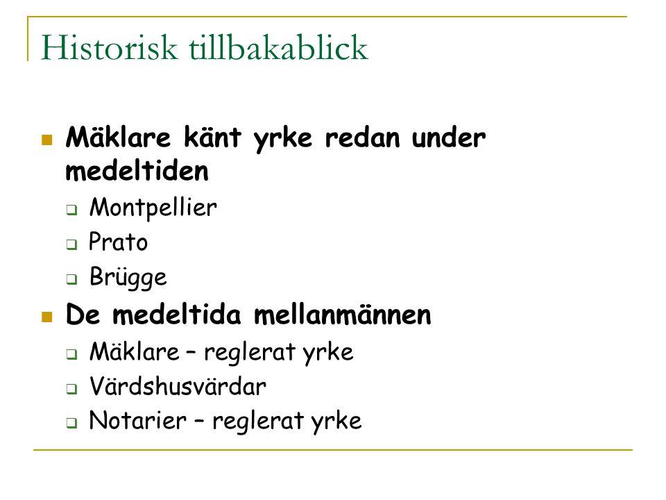 Svensk förmedlingsprocess I regel säljaren som uppsöker mäklaren och träffar ett uppdragsavtal med denne Mäklaren hittar spekulanter och (förhoppningsvis) en köpare bland dessa Mäklaren bistår parterna vid förhandlingarna Mäklaren upprättar juridiska dokument och övervakar kontraktsskrivningen