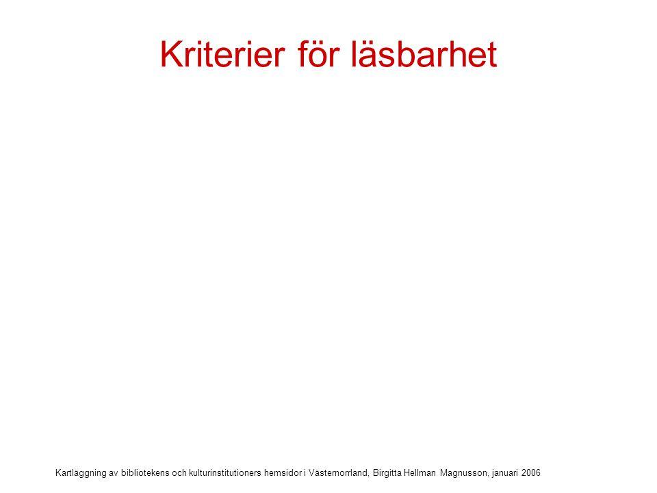 Kartläggning av bibliotekens och kulturinstitutioners hemsidor i Västernorrland, Birgitta Hellman Magnusson, januari 2006 Kriterier för läsbarhet  Alternativtext till bilder & bildlänkar & text på bild
