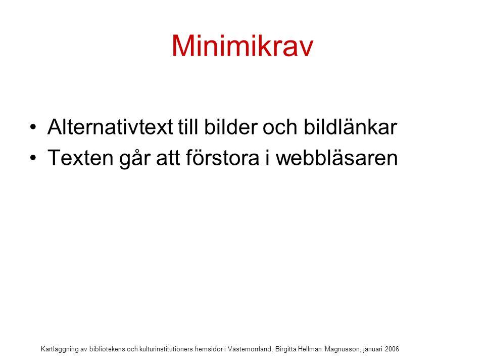 Kartläggning av bibliotekens och kulturinstitutioners hemsidor i Västernorrland, Birgitta Hellman Magnusson, januari 2006 Alternativtext till bilder och bildlänkar Ja = 2 hemsidor Nej = 8 hemsidor