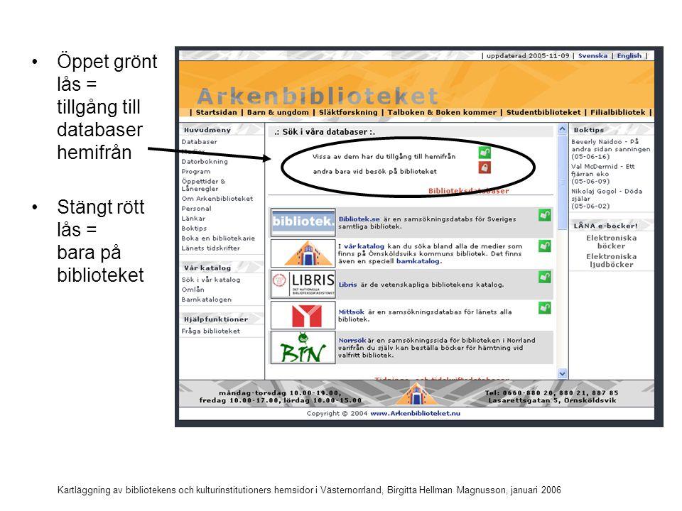 Kartläggning av bibliotekens och kulturinstitutioners hemsidor i Västernorrland, Birgitta Hellman Magnusson, januari 2006 Vilka databaser kan nås hemifrån?