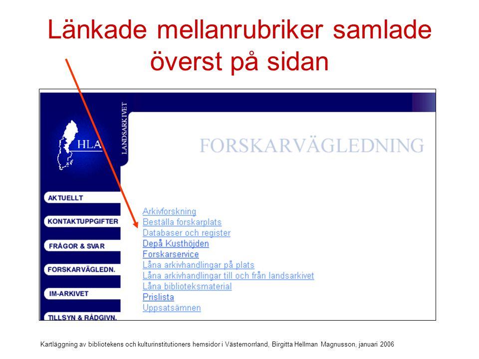 Kartläggning av bibliotekens och kulturinstitutioners hemsidor i Västernorrland, Birgitta Hellman Magnusson, januari 2006 Bra med sammanfattningar Bra med korta samman- fattningar till uppladdnings- bara dokument