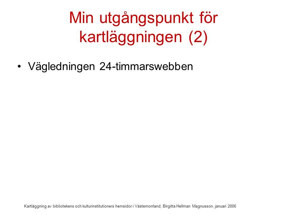 Kartläggning av bibliotekens och kulturinstitutioners hemsidor i Västernorrland, Birgitta Hellman Magnusson, januari 2006 Min utgångspunkt för kartläggningen (2) Vägledningen 24-timmarswebben Utkom 2005