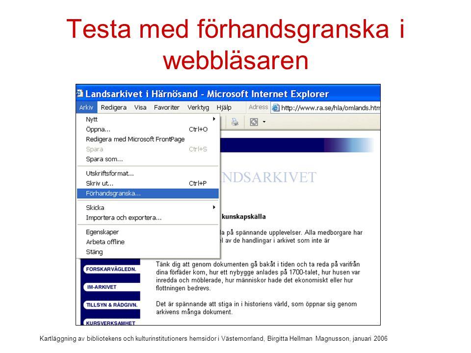 Kartläggning av bibliotekens och kulturinstitutioners hemsidor i Västernorrland, Birgitta Hellman Magnusson, januari 2006 Utskrift ok.