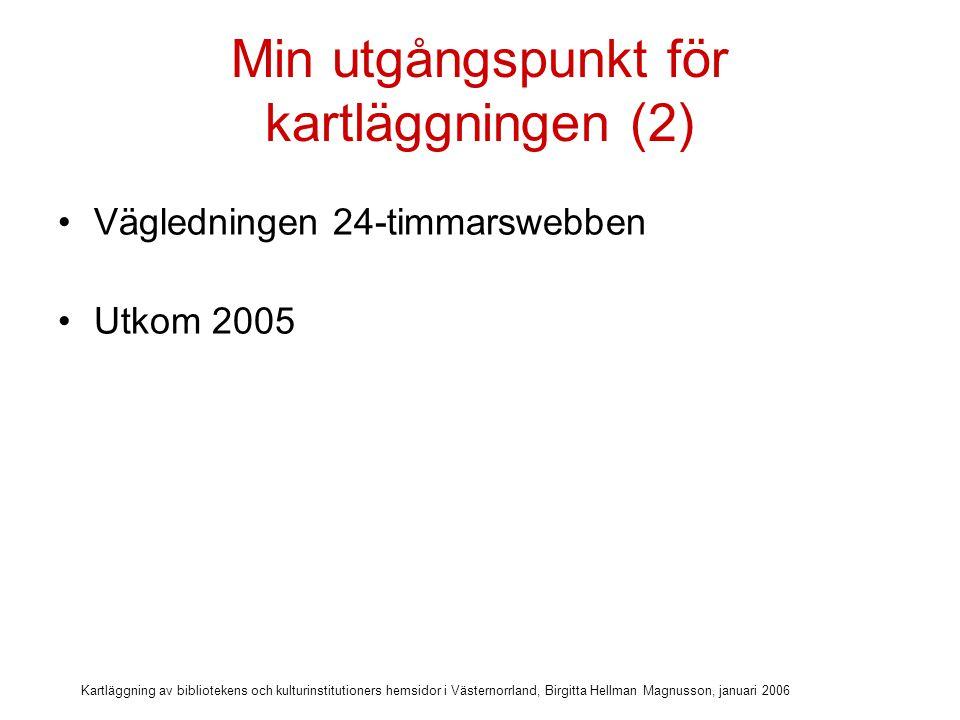 Kartläggning av bibliotekens och kulturinstitutioners hemsidor i Västernorrland, Birgitta Hellman Magnusson, januari 2006 Min utgångspunkt för kartläggningen (2) Vägledningen 24-timmarswebben Utkom 2005 Syftar till att ge stöd att utveckla offentliga webbplatser så att de blir tillgängliga för alla