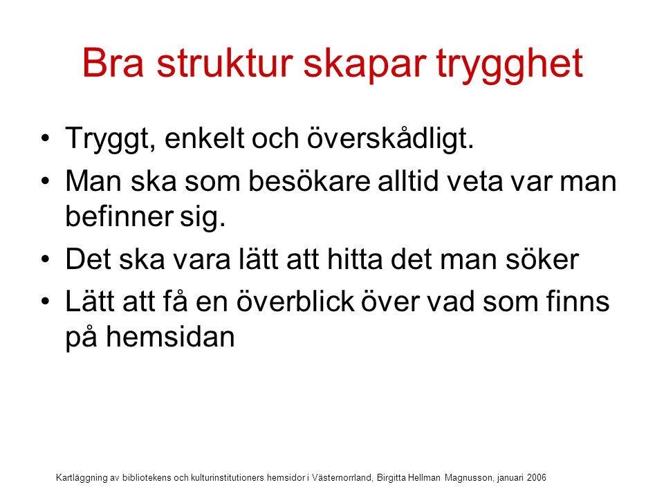 Kartläggning av bibliotekens och kulturinstitutioners hemsidor i Västernorrland, Birgitta Hellman Magnusson, januari 2006 Länk till startsida och sidmarkör
