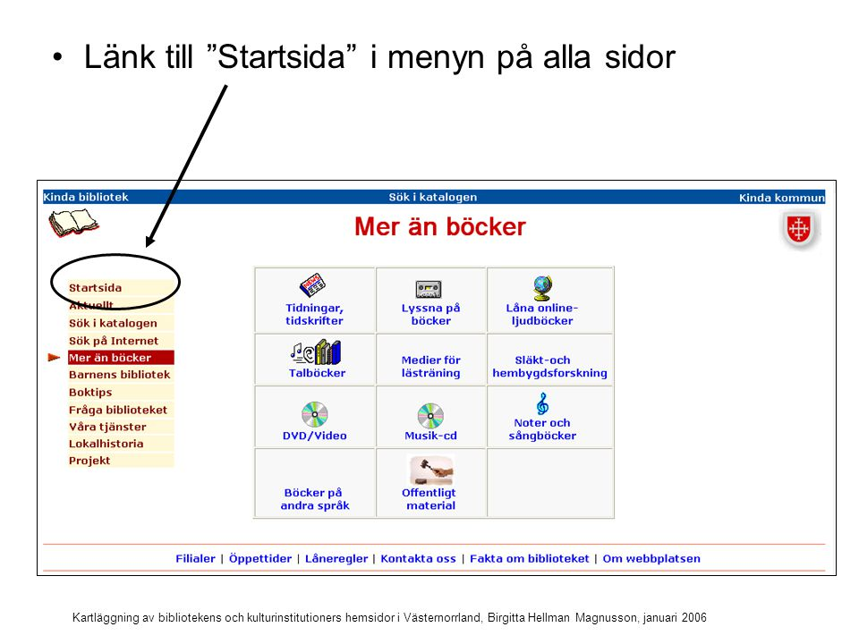 Kartläggning av bibliotekens och kulturinstitutioners hemsidor i Västernorrland, Birgitta Hellman Magnusson, januari 2006 Länk till Startsida i menyn på alla sidor Hela huvudmenyn syns på alla sidor