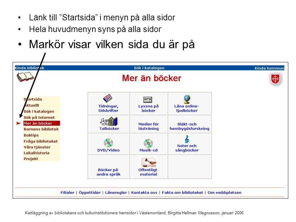 Kartläggning av bibliotekens och kulturinstitutioners hemsidor i Västernorrland, Birgitta Hellman Magnusson, januari 2006 Länk till Startsida i menyn på alla sidor Hela huvudmenyn syns på alla sidor Markör visar vilken sida du är på Länken till sidan du är på är avaktiverad