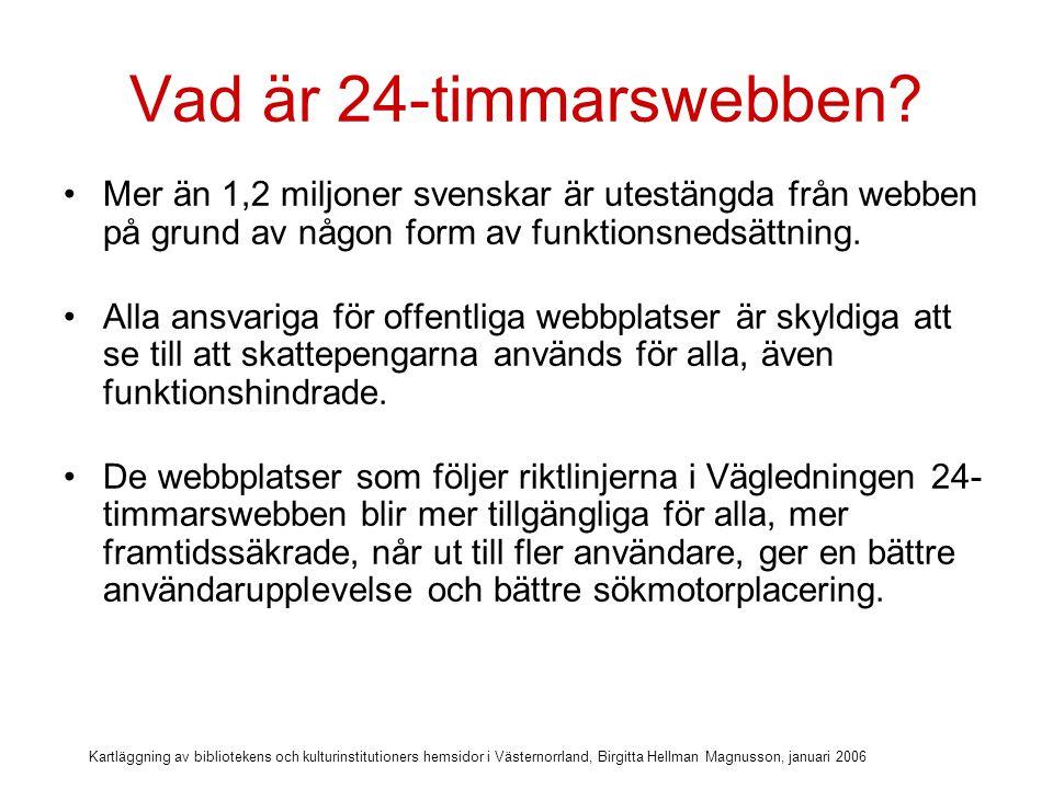 Kartläggning av bibliotekens och kulturinstitutioners hemsidor i Västernorrland, Birgitta Hellman Magnusson, januari 2006 Norrköpings Stadsbibliotek är det första bibliotek i Sverige som standardiserat sin webbplats i enlighet med de 140 riktlinjerna från 24-timmarswebben.