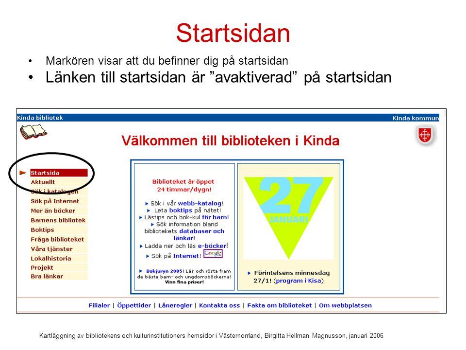 Kartläggning av bibliotekens och kulturinstitutioners hemsidor i Västernorrland, Birgitta Hellman Magnusson, januari 2006 Att hitta webb-katalogen