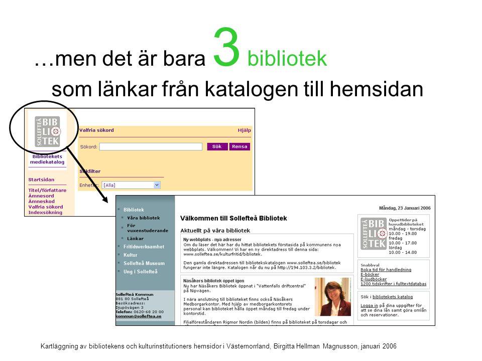 Kartläggning av bibliotekens och kulturinstitutioners hemsidor i Västernorrland, Birgitta Hellman Magnusson, januari 2006 Återvändsgränder Övriga 4 bibliotekskataloger är återvändsgränder .