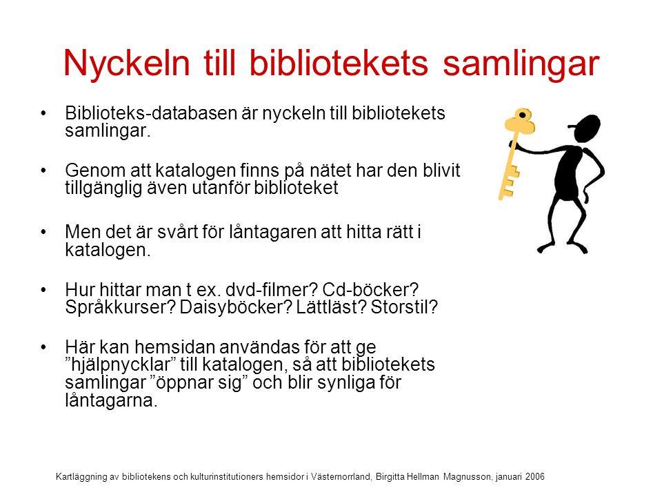Kartläggning av bibliotekens och kulturinstitutioners hemsidor i Västernorrland, Birgitta Hellman Magnusson, januari 2006 Vem älskar opacen.