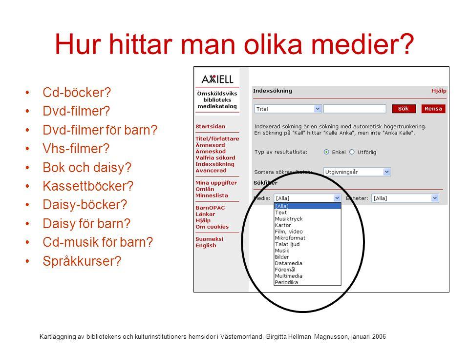 Kartläggning av bibliotekens och kulturinstitutioners hemsidor i Västernorrland, Birgitta Hellman Magnusson, januari 2006 Ämnesord???