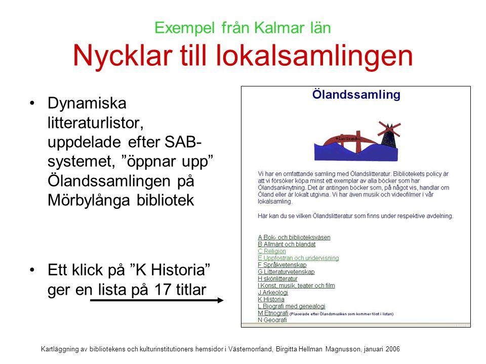 Kartläggning av bibliotekens och kulturinstitutioners hemsidor i Västernorrland, Birgitta Hellman Magnusson, januari 2006 Alla cd-böcker på Uppvidinge bibliotek