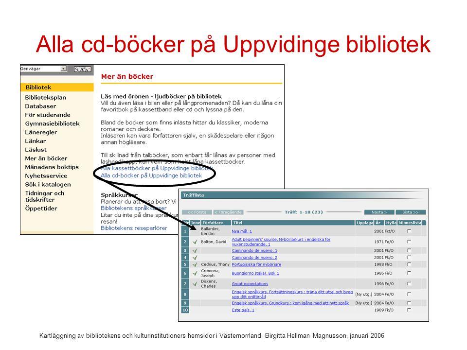 Kartläggning av bibliotekens och kulturinstitutioners hemsidor i Västernorrland, Birgitta Hellman Magnusson, januari 2006 Bibliotekets språkkurser