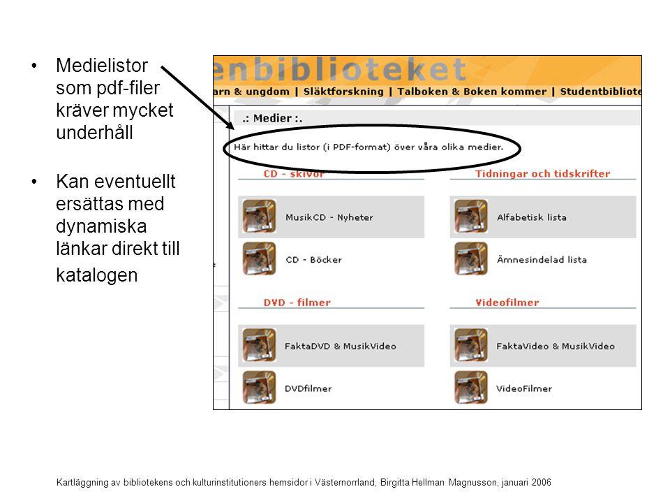 Kartläggning av bibliotekens och kulturinstitutioners hemsidor i Västernorrland, Birgitta Hellman Magnusson, januari 2006 Dynamiska listor på Arkenbiblioteket (test) Alla filmer på biblioteket Nya böcker (2006) Ny rockmusik på cd (2005 och 2006)Ny rockmusik på cd