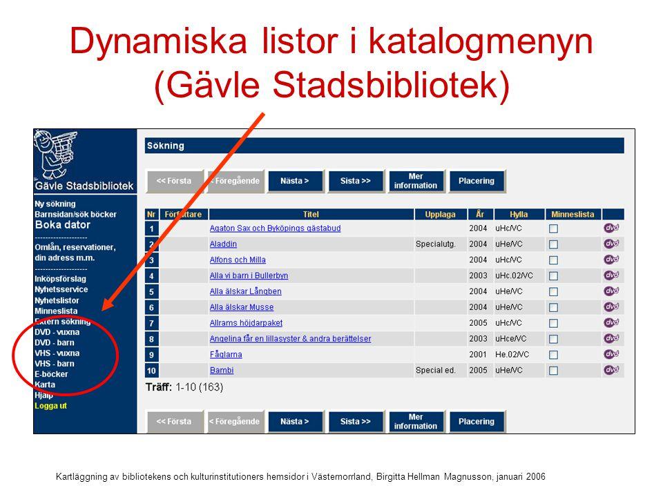 Kartläggning av bibliotekens och kulturinstitutioners hemsidor i Västernorrland, Birgitta Hellman Magnusson, januari 2006 Diskussionsfrågor Tror du att dynamiska länkar till katalogen kan vara en hjälp för att se vad som finns på biblioteket.